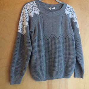 Anthropologie Moth gray sweater lace shoulder S